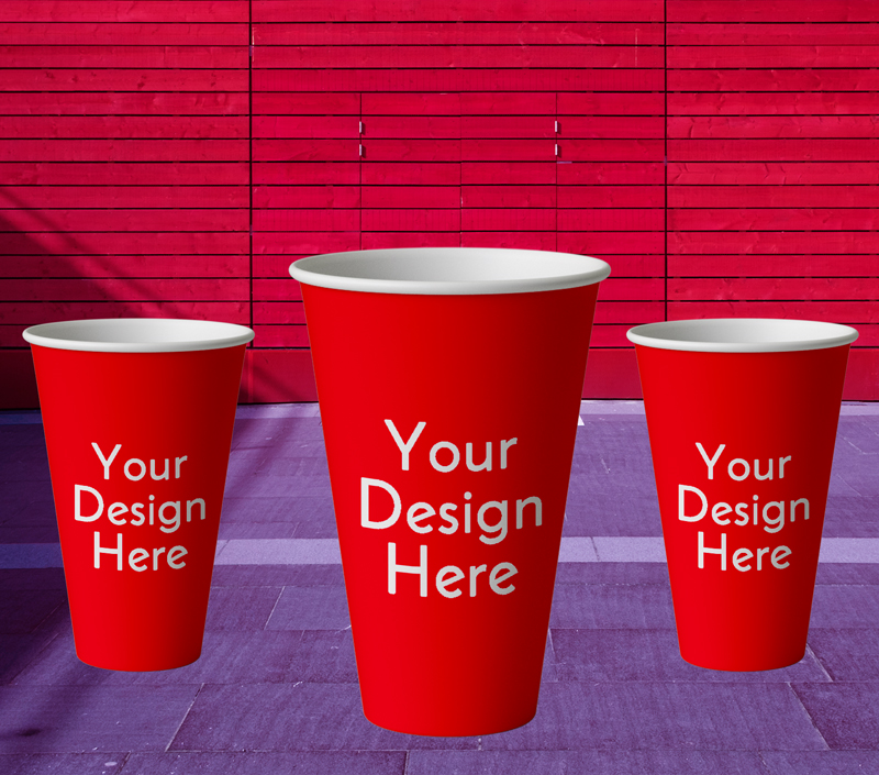 IMG: Mockup Of Red Coffee Cup With Wall Background