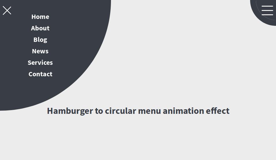 IMG: Hamburger Circular Menu In CSS